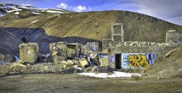 Winter scene of the abandon cement factory at Lime, Oregon.